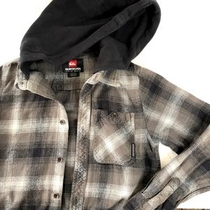 Quicksilver Hooded Plaid Flannel Button Down Shirt